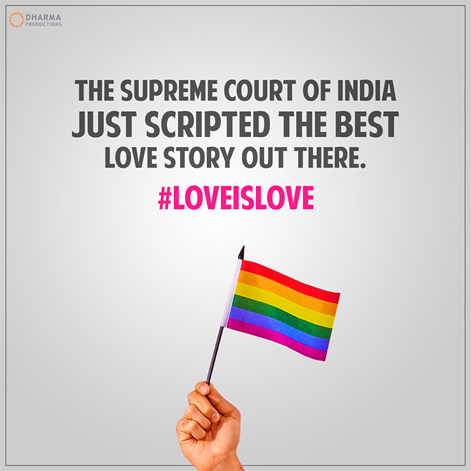 Bollywood on SC strikes down of Section 377