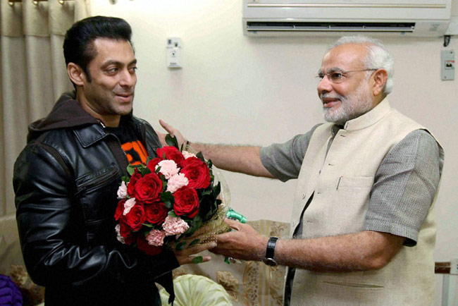 Bollywood Salman Khan with Indian PM Modi